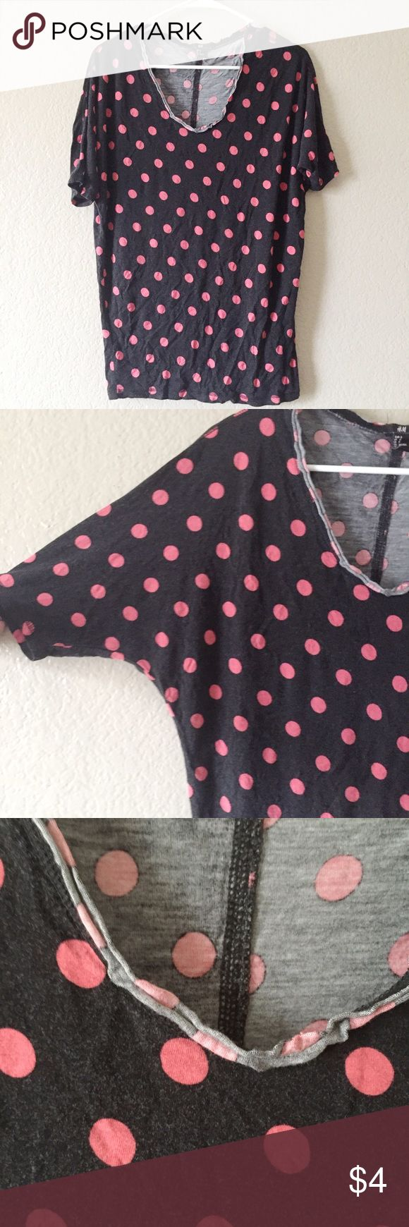 H&M Batwing Polka Dot Top H&M pink polka dot blouse with batwing/dollman style, raw edge hemlines and stitching down the back of the blouse, worn for lounge wear and wear shown through fading on shirt, condition apparent on tags H&M Tops
