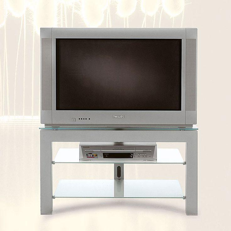 Porta TV con struttura in acciaio color alluminio mak 60 kg TV Next