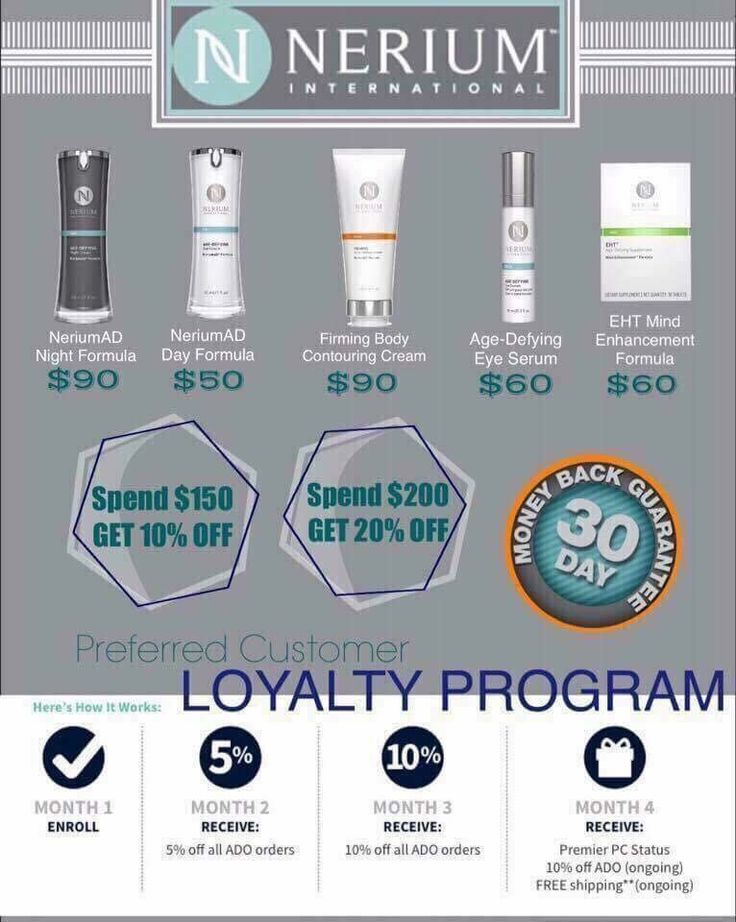 Nerium Preferred Customers. Let me help you save on your Nerium products month after month.  www.deannawestover.nerium.com