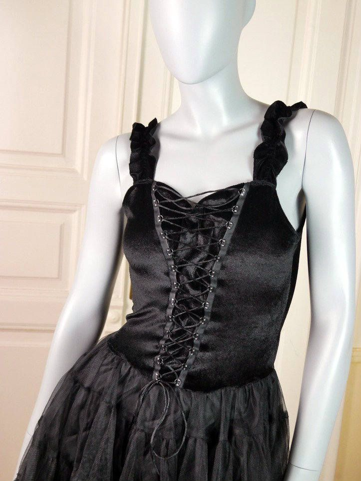 German Vintage Little Black Dress, Corset Dress, Ballet-Style Black Evening Dress, Sexy Party Dress, LBD, Cocktail Dress: Size 6 US, 10 UK by YouLookAmazing on Etsy