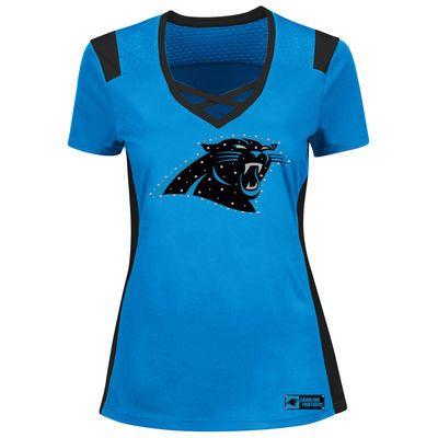 Women's Carolina Panthers Majestic Blue Draft Me T-Shirt