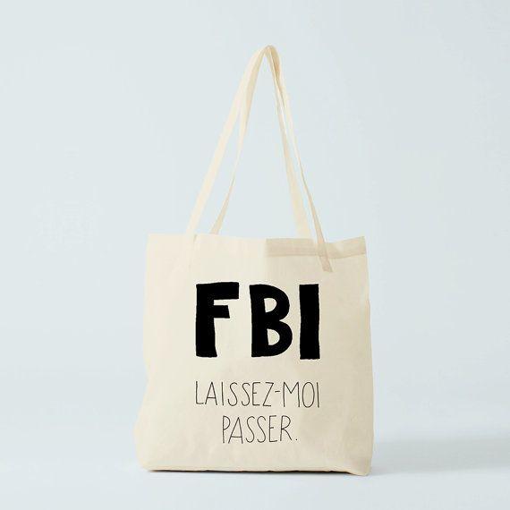 Borsa tote citazione divertente FBI divertente di BambouchicParis