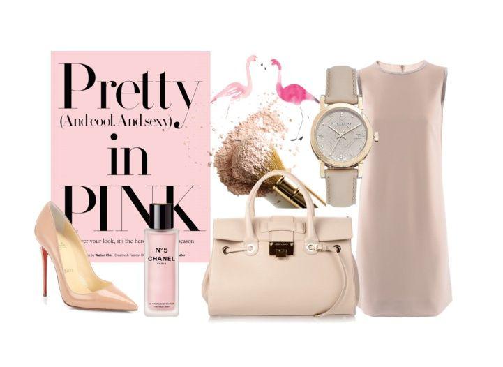 Pink is always a Good Idea! #Loubutin heels, #JimmyChoo bag, #Burberry wristwatch, #DolceandGabbana dress, #Chanel fragrance by pierreriu.com on Polyvore