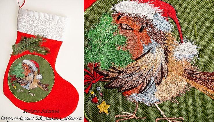 """Сапожок для подарков """"Рождественский воробей"""" # Christmas_Stocking# Christmas#Christmas_present#Christmas_Decor"""