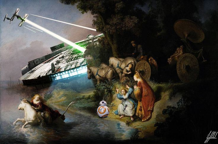 The Force Awakens of the famous masterpieces.  The Abduction of Europa painting by Rembrandt.  #starwars #theforceawakens #bb8 #famous #painting #rembrandt #art #artwork #photomanipulation #digitalart