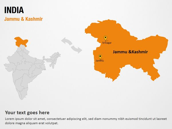 Jammu & Kashmir - India PowerPoint Map Slides - Jammu & Kashmir - India Map PPT Slides, PowerPoint Map Slides of Jammu & Kashmir - India, PowerPoint Map Templates