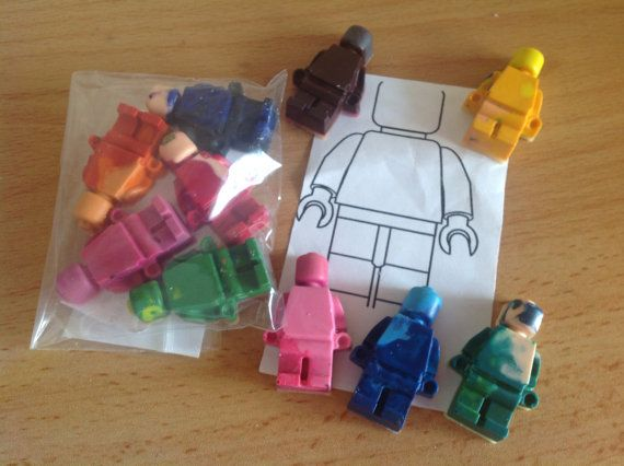 Lego men styled crayons. Sold in packs of 5 by artofcandles, £1.50