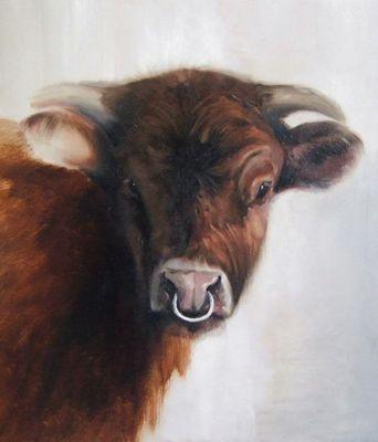 Realistisch, stier die natuurgetrouw is geschilderd