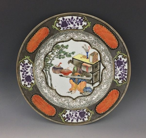 Chinese en grissIlle & famille rose dish, Yongzheng Period.