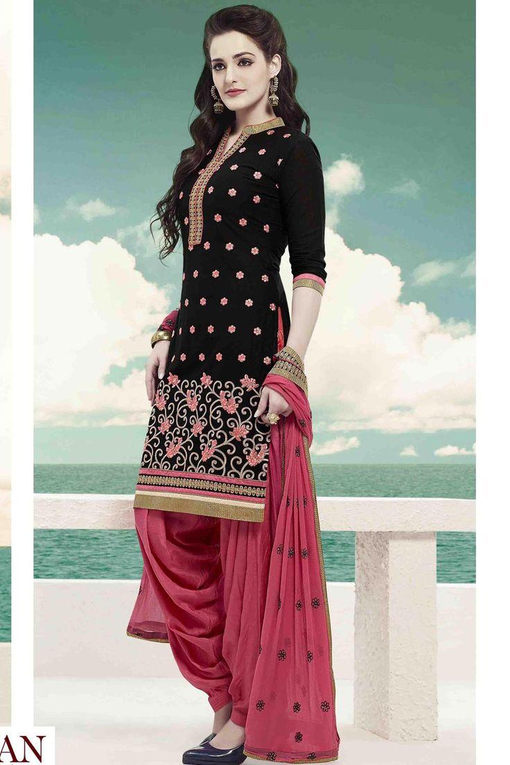 Black & Red Cotton UnStitch Patiala Suit With Chiffon Dupatta