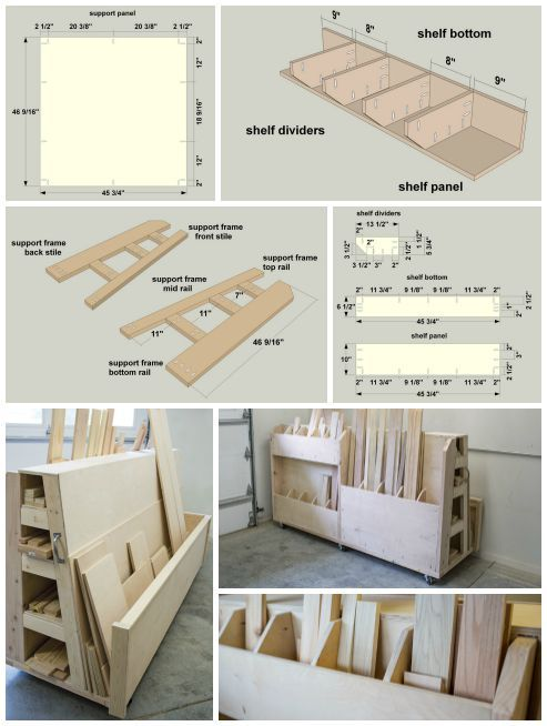 DIY Rolling Lumber & Sheet Goods Cart | Finding a place to store lumber and sheet goods can be challenging. This lumber cart keeps them all organized with shelves to store long boards, upright bins for shorter pieces, and a large area to hold sheet goods. Plus, the cart rolls, so you can push it wherever you need to in your work space. Find the FREE PLANS for this project and many others at buildsomething.com