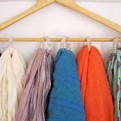 DIY Scarf Organizer: Shower Curtain Rings, Organization, Idea, Diy'S, Shower Curtains, Scarfs, Hangers, Diy Scarf