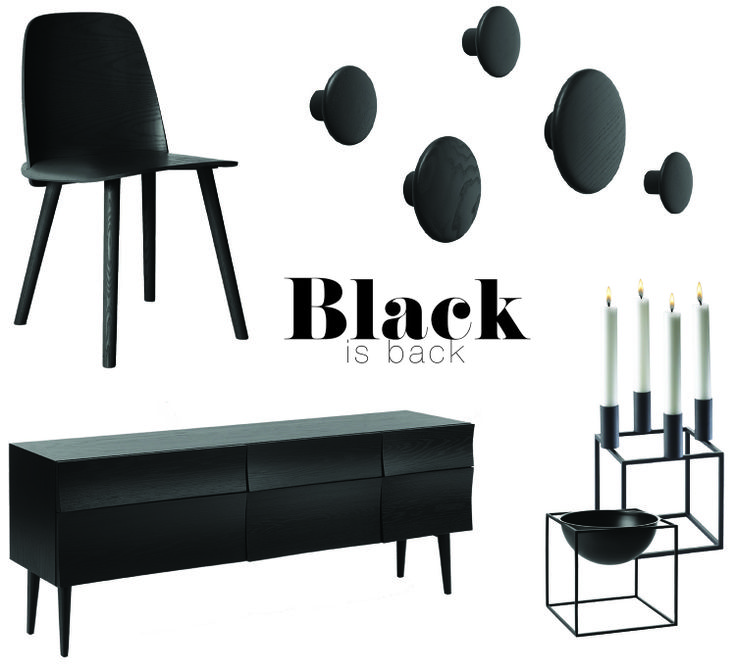Black is BACK mood board designed by Urban Couture Design + Homewares. Inspired by nordic and Scandinavian furniture all available in our online boutique!