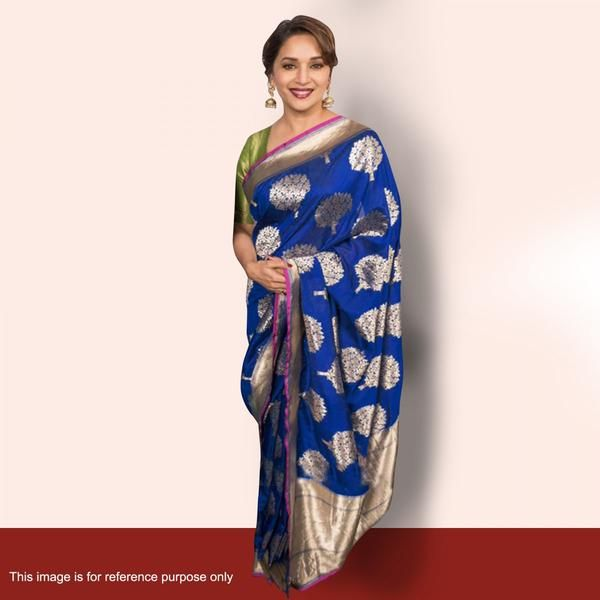 Traditional Bollywood Sarees Madhuri Dixit's Blue Foil Print Work Bollywood Sarees