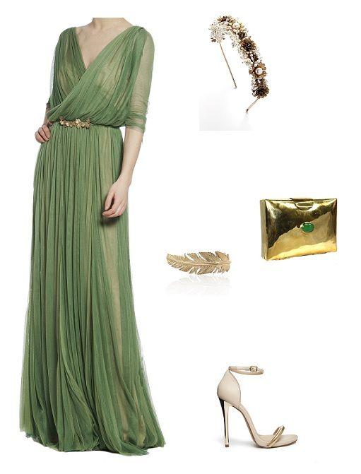 look boda especial traje formal largo  Verde con accesorios dorados