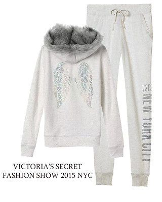 Victoria's Secret Fleece Fashion Show crystal Bling Zip Hoodie NYC 2015 SET M