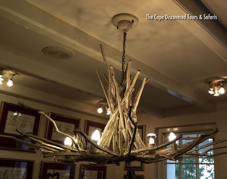 Private day tour: Interesting light fixture inside the tasting room at Zevenwacht wine estate, Stellenbosch, South Africa.