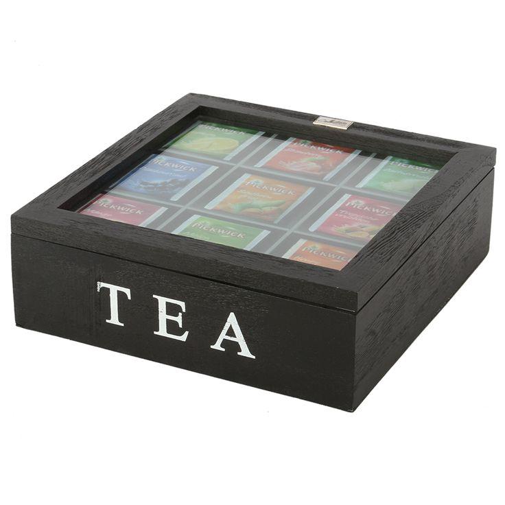 Thee doos Altavilla 9 vaks zwart. Collectione / Casa-Bella #Accessoires #Opbergen #Doosje #Box #Theedoos #Tea