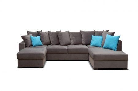 Duży, wygodny, z masą poduszek  ... narożnik Blu Sky od Selsey.pl #selseypolska, #naroznik, #kanapa