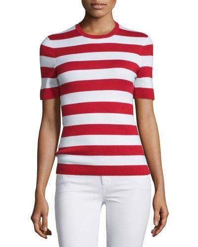 MICHAEL KORS Short-Sleeve Striped Cashmere Top, Crimson. #michaelkors #cloth #top