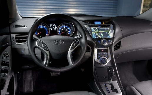 Hyndai Elantra interior with blue on the meter hd Wallpaper