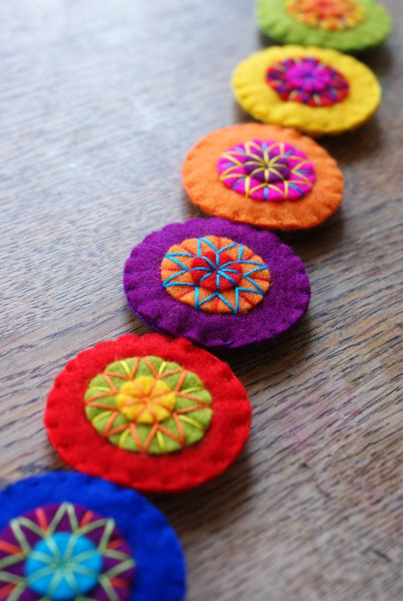 Felt embroidered garland