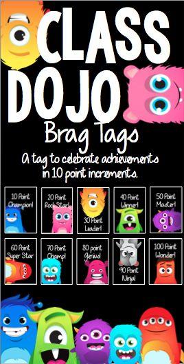 Brag Tags to celebrate Class Dojo achievements!