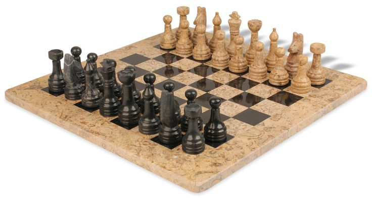 """Classic Coral Stone & Black Marble Chess Set with 16"""" Board - The Chess Store"""