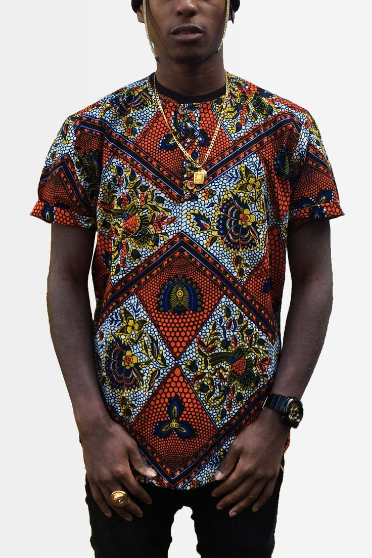 BERENDING - a stunning red, white black & yellow intricate print in our new shape and style African Shirt for 2016.   Sourced, designed and manufactured in The Gambia.  - 100% cotton   - Authentic African Wax Prints 
