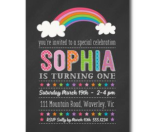 Rainbow Birthday Invitation 1st Birthday by TracyAnnPrintables