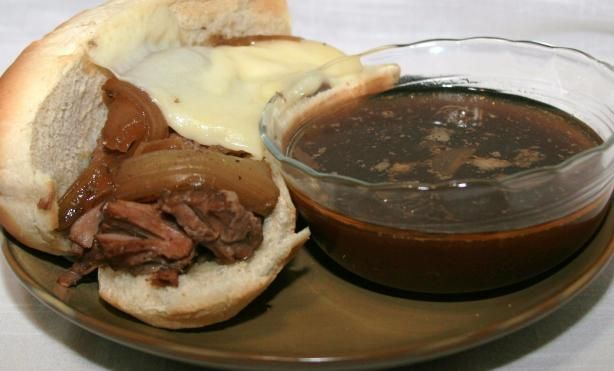 Crock Pot French Dip Sandwiches Recipe -super simple arm roast, au jus mix, and onion soup mix!