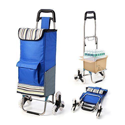 Folding Shopping Cart Stair Climbing Grocery Laundry Utility Wheel Bearings Blue #ShoppingCart