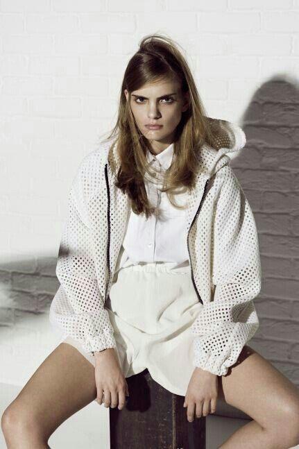 White on white, layered materials, mesh, exposed zips, drawstring