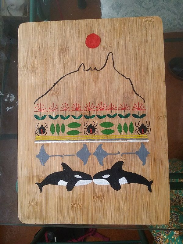 Acrylic on a bamboo chopping board, sealed with polyurethane. It will have cuphooks attached and be mounted on the wall to hang bags and scarves (from the top: sun, profile of Mount Manaia, pohutukawa blossoms, katipo spiders and leaves, yellow sand and waves, stingrays and orca). Aotearoa folk art style.