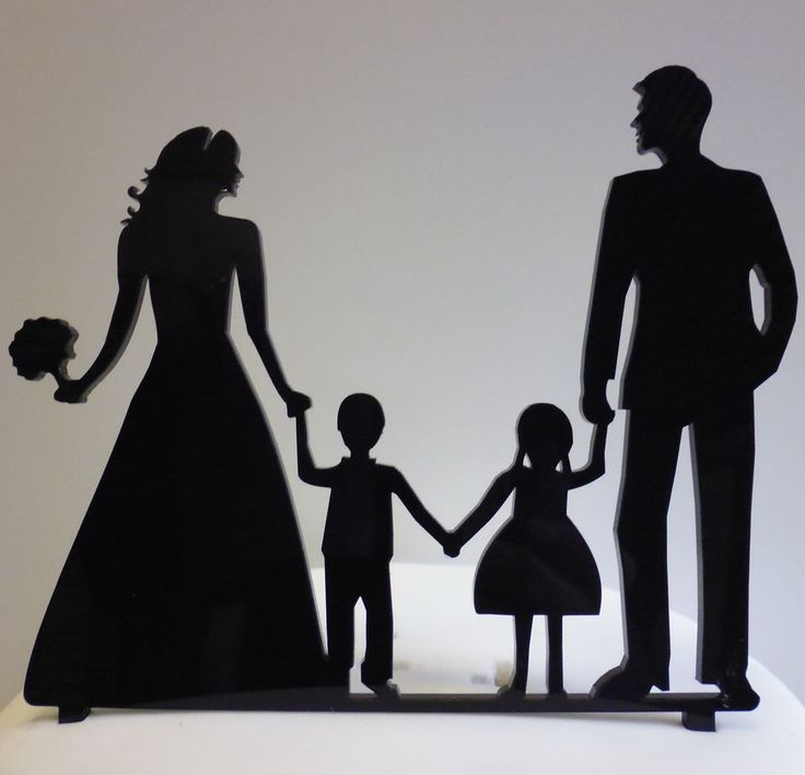 Silhouette Wedding Cake Topper Bride and Groom with BOY & GIRL Black Acrylic | eBay