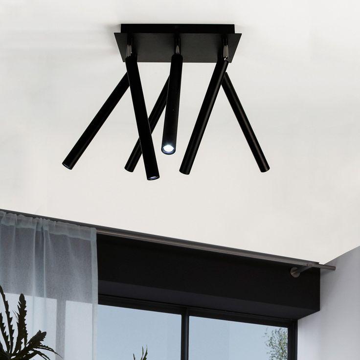 Crutch 6 Armige LED Deckenleuchte Schwarz 47238