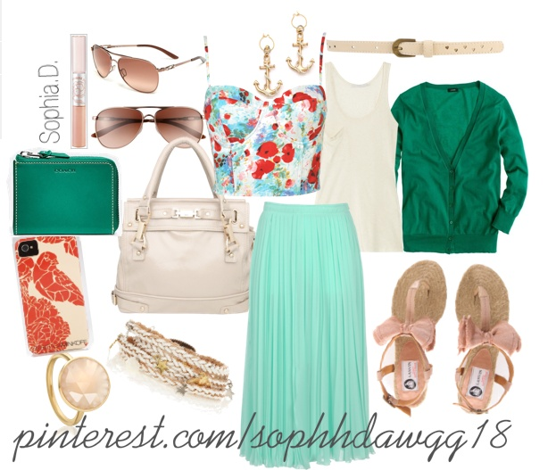 sunglesses, turquoise coach wallet, patterned floral iphone case, pink ring, braided braclet, lip gloss, pink bow sandles, coral blue maxi skirt, floral corset,beige tank, turquoise cardigan, beige belt & sailor earrings, <3 SophhDawgg18