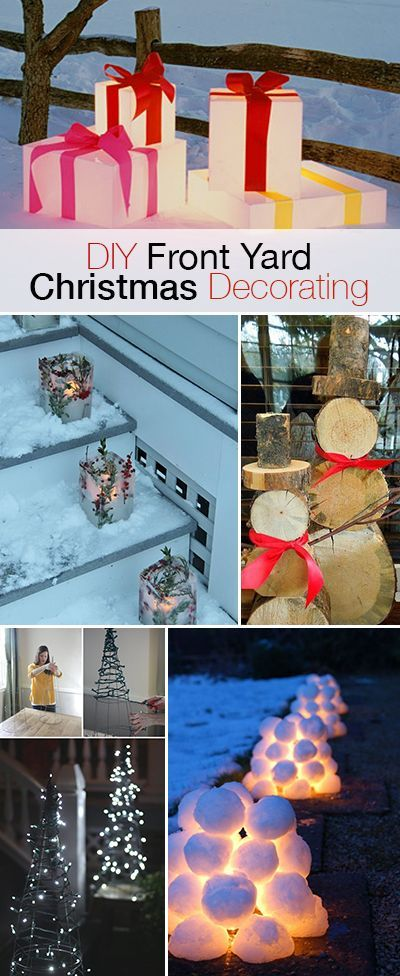 DIY Front Yard Christmas Decorating Projects • A round-up of great Ideas and Tutorials! I love the light up snowballs!