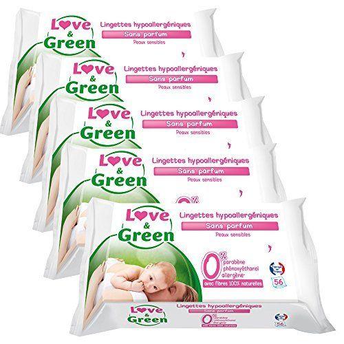 Love & Green – Lingette Sensitive 56 Pièces – Lot de 5: Sans ingrédient indésirable : 0% de parabène, phénoxyéthanol, allergène*, EDTA,…