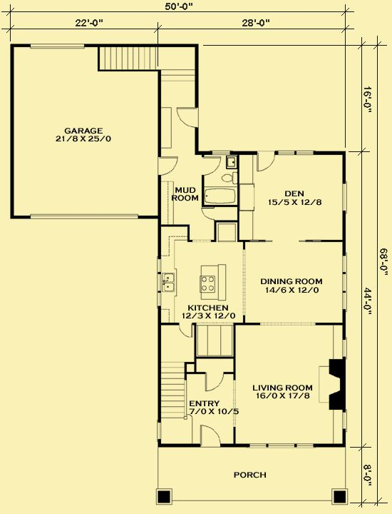 gabled house plan (main floor)