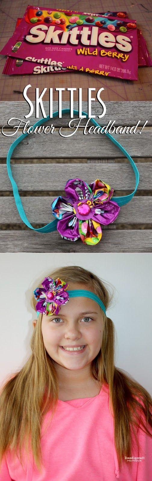 CANDY WRAPPER Skittles Flower Headband!