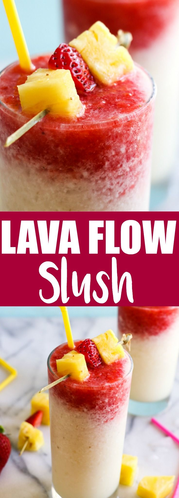 (Virgin) Lava Flow Slush and Recipe Video! Enjoy the tropical flavors of pineapple, coconut and banana swirled with strawberry in this frosty and slushy drink! Feel free to add a little rum if desired! The perfect summertime drink!