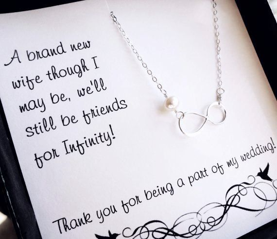 Bridesmaid Gift Idea Infinity Necklace On Message Card Bridal
