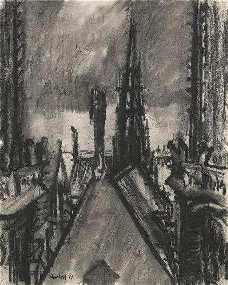 David Bomberg ~ Spires and Towers, Notre Dame de Paris, 1953 (charcoal)