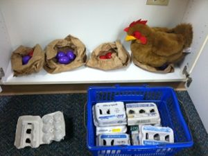 """cute circle time activity for farm theme: """"who gathered eggs from the chicken coop?"""" w/ props, following directions, turn-taking, repetitive rhyme/chant."""