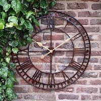 Exceptional Large Outdoor Garden Wall Clock Giant Open Face Big Roman Numerals 80CM