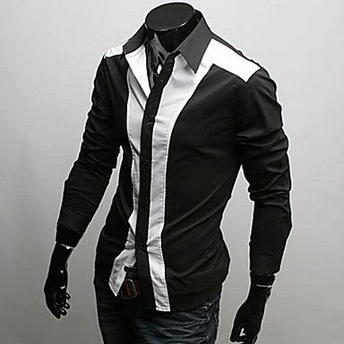 MAXMANMen Bodycon Casual Shirt Collar Long Sleeve Casual Shirts – AUD $ 24.30