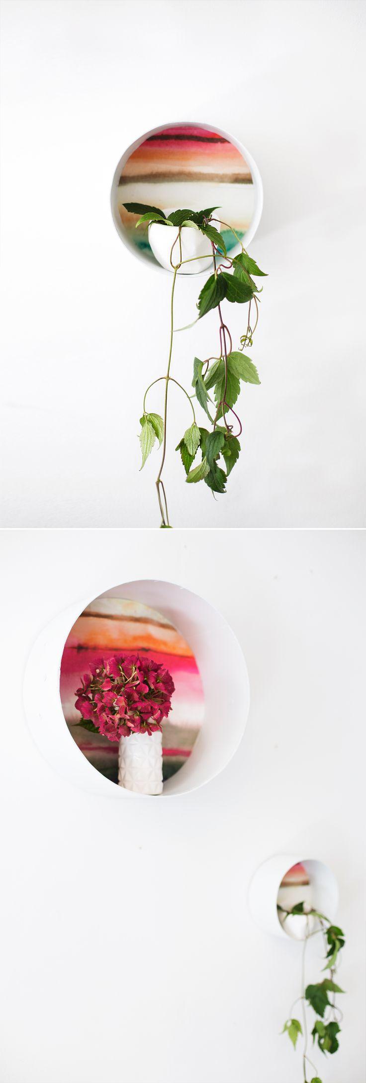 DIY: wallpaper decorative shelves