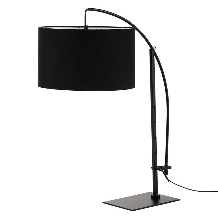 Lampe TORINO aus Metall mit Lampenschirm aus Baumwolle, H 64 cm, schwarz