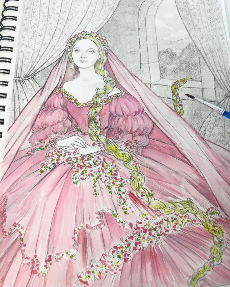 """Eeva Nikunen (@eevanikunen) on Instagram: """"Today's sketch is of Rapunzel 🏰 I thought she would look lovely in a pink dress with flowers.…"""""""
